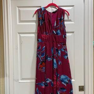 Eshakti Burgundy Floral Chiffon Pocket Maxi Dress